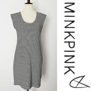 MinkPink Black & White Stripe Tank Dress